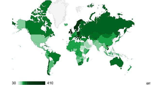 Mapa com os períodos de licença maternidade ao redor do mundo considerando os dias garantidos - Arquivo/OIT.