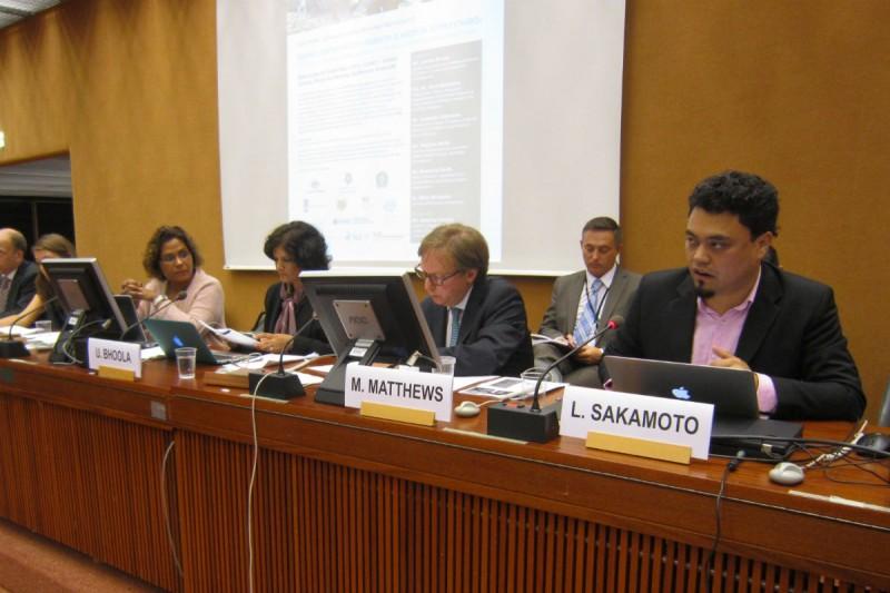 """Evento """"Acabando com Formas de Escravidão Contemporânea em Cadeias Produtivas"""", realizado durante a 30ª reunião do Conselho de Direitos Humanos das Nações Unidas, em Genebra, na Suíça. Fotografia: Divulgação/ONU"""