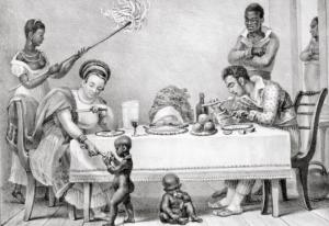 Gravura de Thierry Fréres descreve a sociedade colonial brasileira em 1835. Imagem: Fundação Biblioteca Nacional