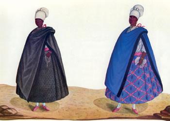 No desenho de Carlo Julião, o traje de duas negras forras. As vestimentas eram símbolos de distinção social. Imagem: Fundação Biblioteca Nacional