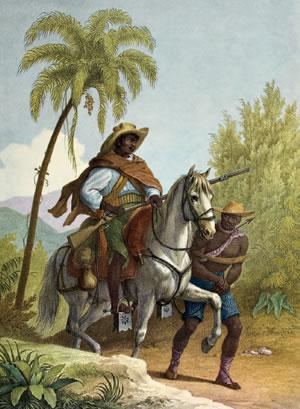 A pintura de Rugendas retrata um capitão do mato, o responsável por recuperar escravos fugidos. Imagem: Biblioteca Nacional da Alemanha