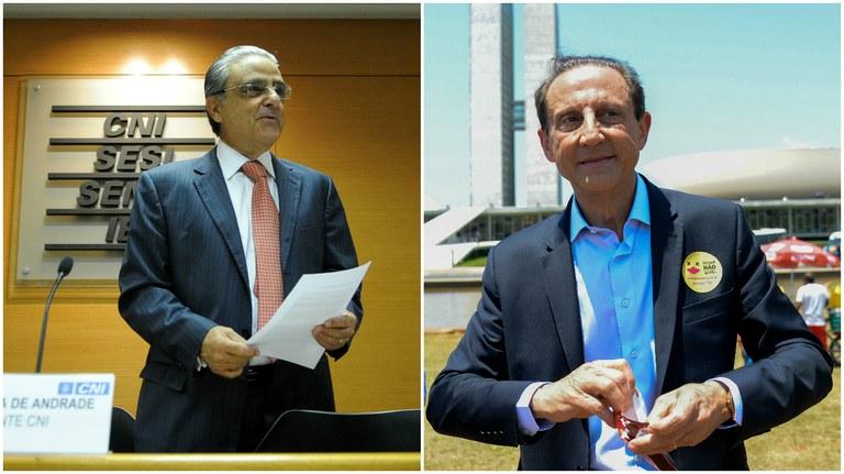 Robson de Andrade, da CNI, e Paulo Skaf, da Fiesp, defendem o avanço sobre os direitos trabalhistas. Fotografia: Wilson Dias/ABr e José Cruz/ABr