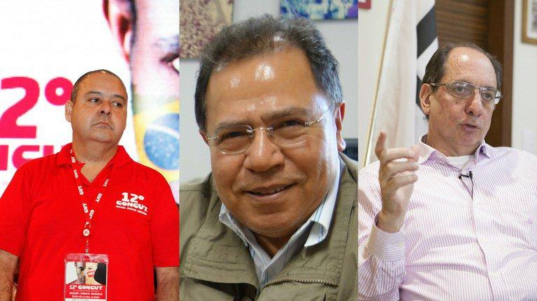 Vagner Freitas, da CUT, Juruna, da Força Sindical, e Ricardo Pata, da UGT, afirmam que a valorização dos acordos coletivos depende do fortalecimento dos sindicatos nos locais de trabalho. Fotografias: Dino Santos/Agência Àgama, Wilson Dias/ABr e José Cruz/ABr
