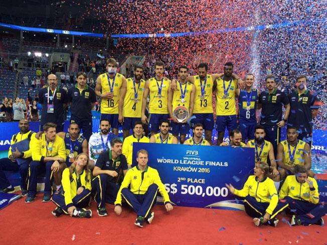 Pelo segundo lugar na Liga Mundial de 2016, equipe de vôlei levou US$ 500 mil.  Fotografia: Agência Pública