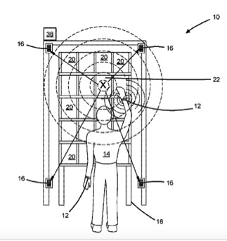 """Patente da Amazon, """"Pulseira ultrassônica e receptor para a detecção de posição em plano 2D"""", 2018. Imagem: Reprodução/Jacobin"""