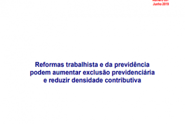 Nota Técnica DIEESE, n. 207: Reformas trabalhista e da previdência podem aumentar exclusão previdenciária e reduzir densidade contributiva