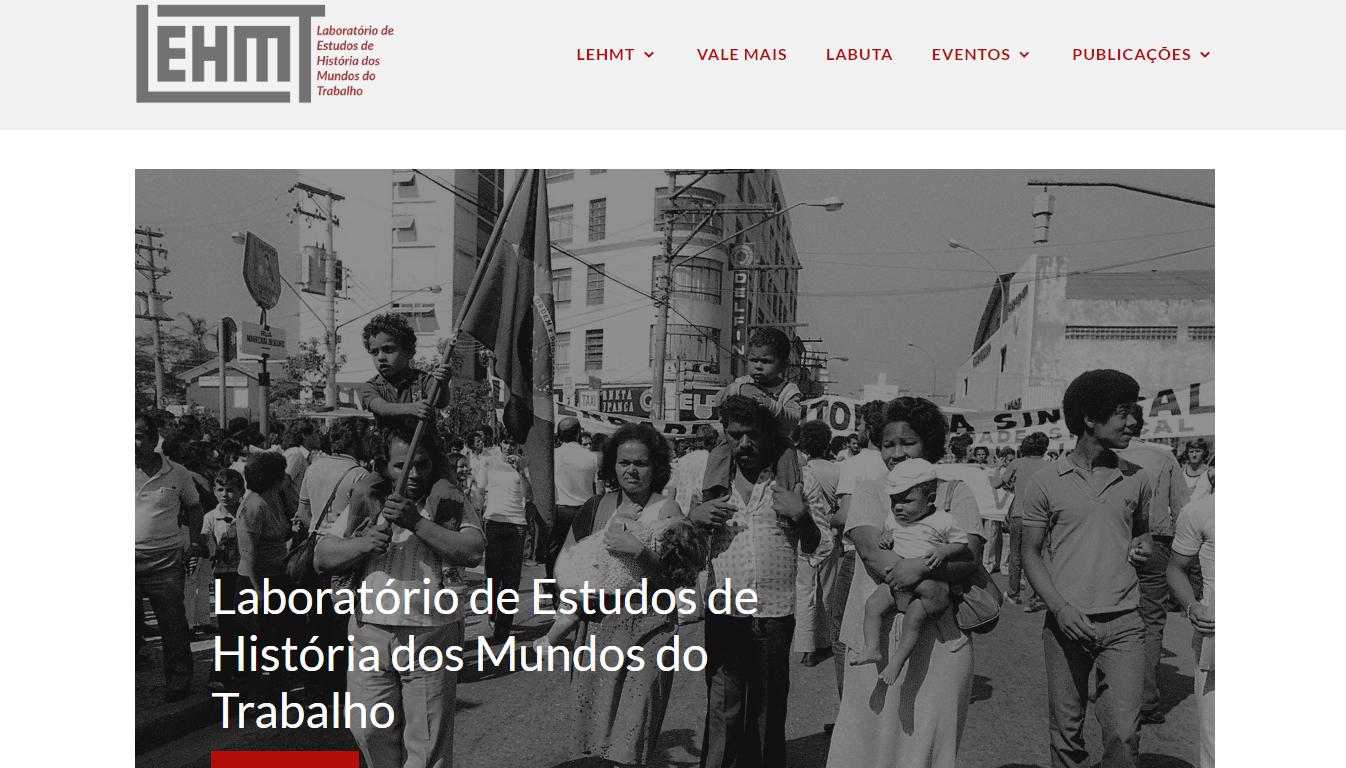 LEHMT – Pagina inicial de site – Laboratorio de estudos de historia dos mundos do trabalho – UFRJ – 2020